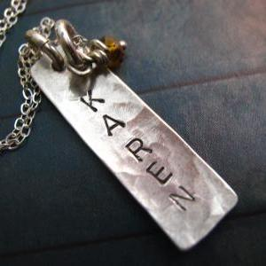 Sterling Silver Vertical Tag Neckla..