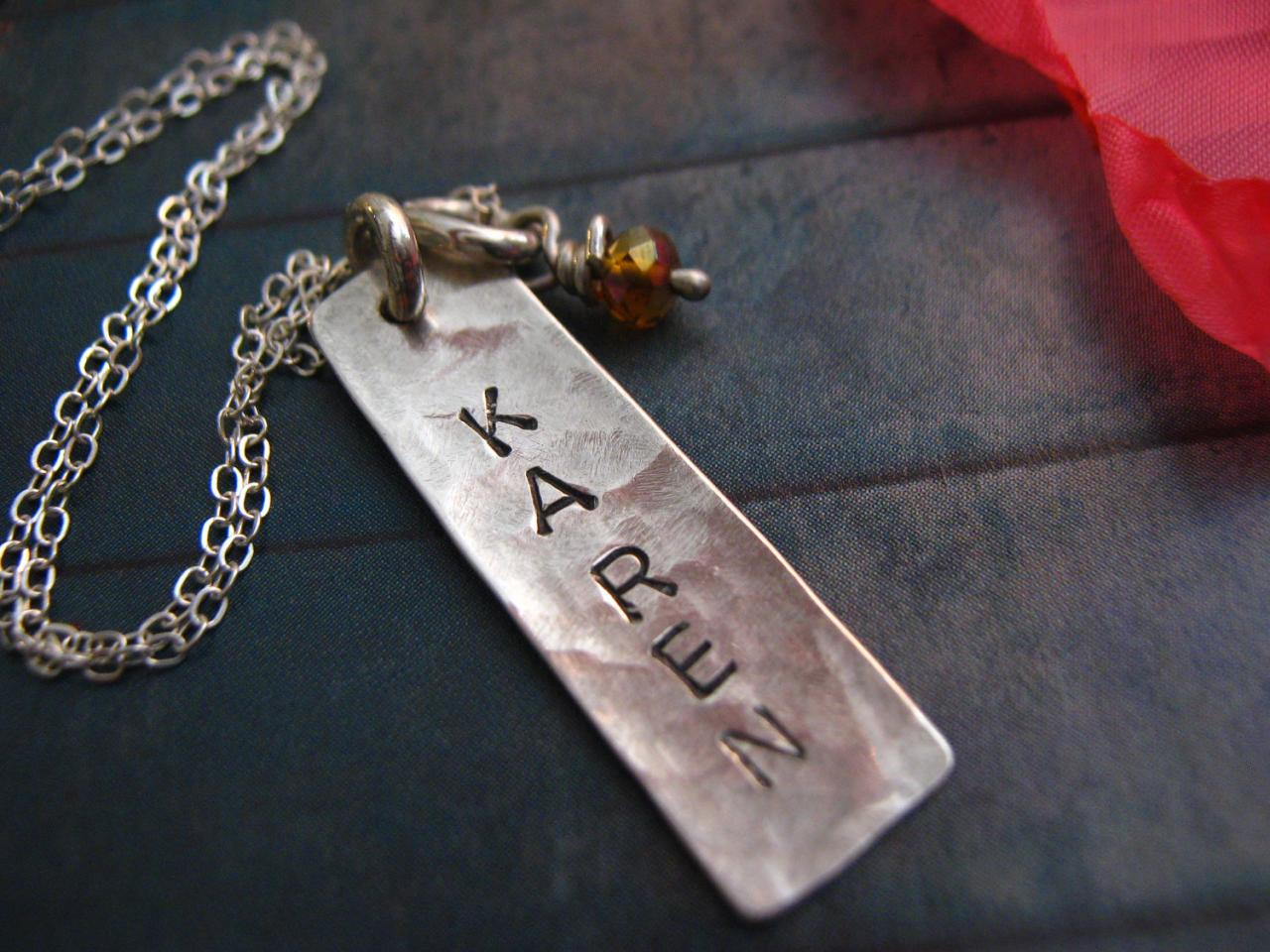 Sterling Silver Vertical Tag Necklace, Hammered, Personalized Necklace, Vertical Bar, Vertical Tag in Silver